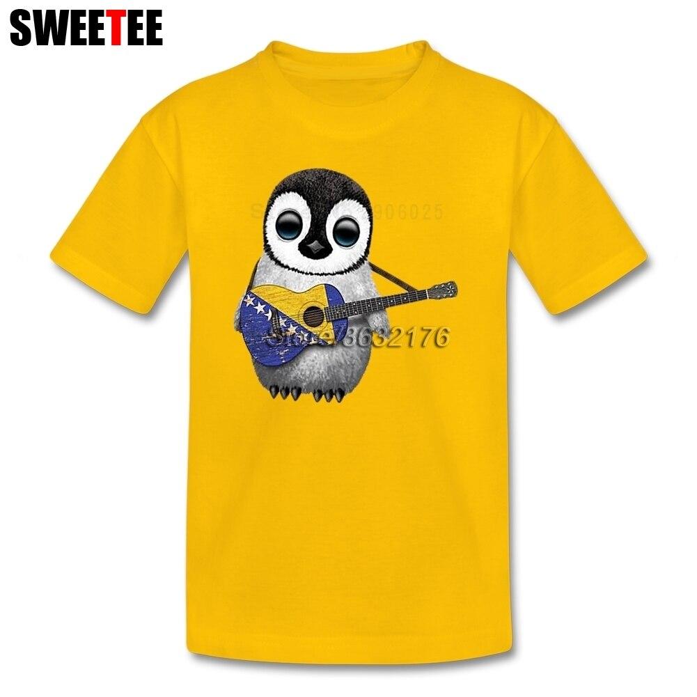 Детские Пингвин играет Босния и Герцеговина флаг Гитары футболка для девочек короткий рукав Футболки для женщин дочери футболка верхняя од... ...