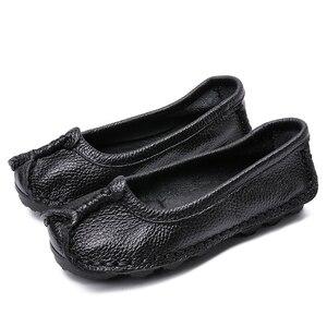 Image 3 - BEYARNE 2019 נשים נעלי עור אמיתיות נשים צבעים מעורבים נעליים יומיומיות בעבודת יד רך נוח נעלי נשים FlatsE003