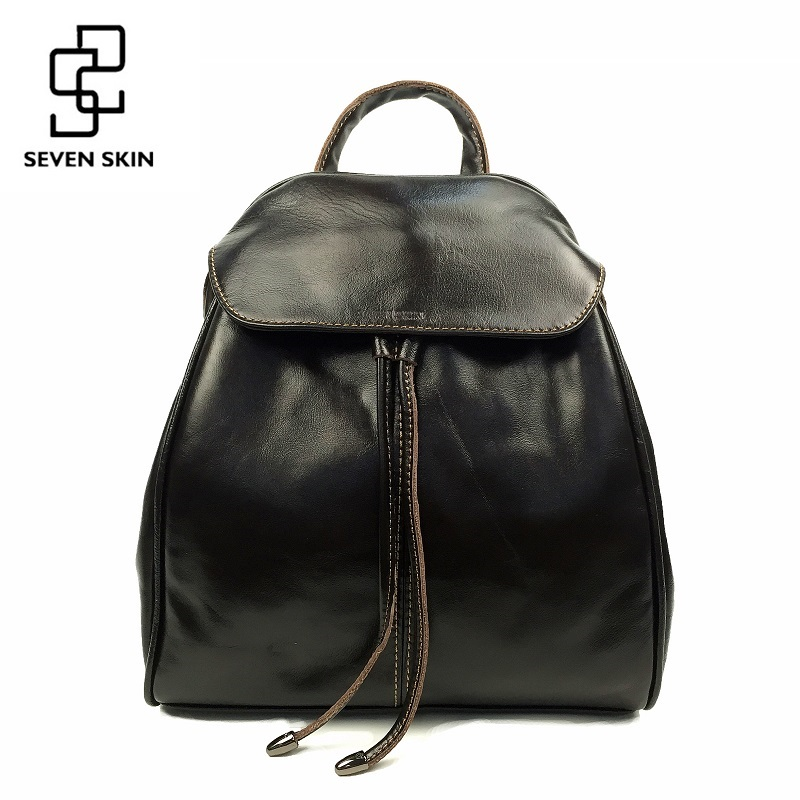 SEVEN SKIN Brand Genuine Leather Women Backpacks Fashion School Backpack for Teenage Girls Small Vintage Bag Female bolsos mujer