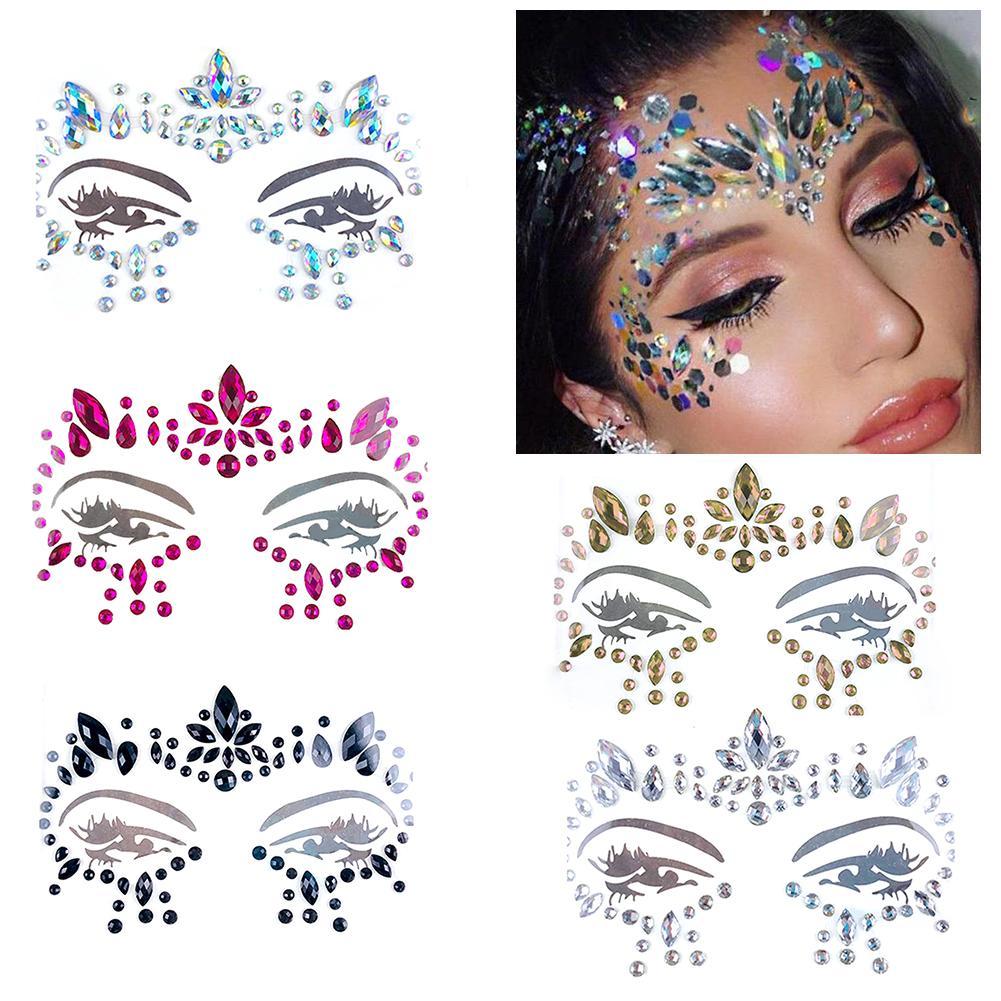 Eye Gems Tattoo Stickers Women's Sexy Charm Makeup Tools Flash Face Decoration Diamond Jewel Temporary Tattoo Prom Club
