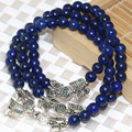 Natural blue lapis lazuli multilayer bell pendant long strand bracelets 6mm round beads silver-plated women luxury jewelry B2240