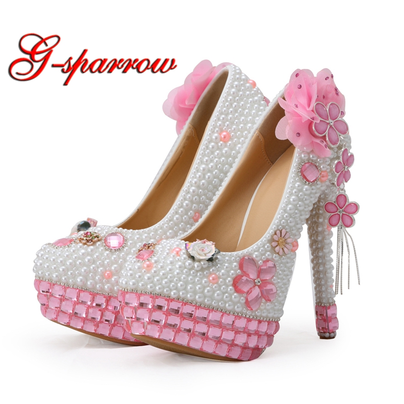Gorgeous Design Pink Crystal White Pearl Wedding Bride Shoes Banquet Party Formal Dress Shoes Girl Birthday Party Pumps Big Size handmade rhinestone sewing wedding shoes bow beaded bride formal dress the banquet hhigh heeled wedding dress single shoes