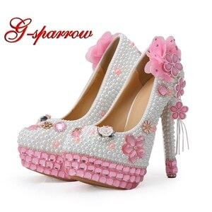 Magnífico diseño rosas de cristal blanco perla zapatos para novia banquete fiesta Zapatos de vestir formales chica fiesta de cumpleaños bombas de gran tamaño