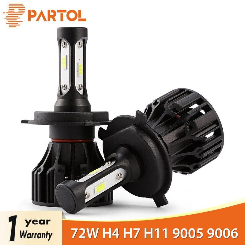 Partol T5 LED H4 Hallo Lo Strahl H7 H11 H1 9005 9006 H3 Auto LED Scheinwerfer Lampen 72 W 8000LM automobil Scheinwerfer LED Licht 6500 K 12 V