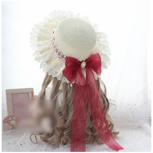 Image 5 - Sweet Lolita Straw Sunhat Mori Girl Caps with Lace & Bowknot Beach Summer Hat