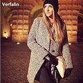 Verfalin Swallow Ceñidor de Lana Escudo Chaqueta de Las Mujeres 2016 Nuevos vestidos Formales Niñas abrigo Largo Ocasional Abrigos de Piel Cálidos Abrigos de Lana Las Mujeres chaquetas