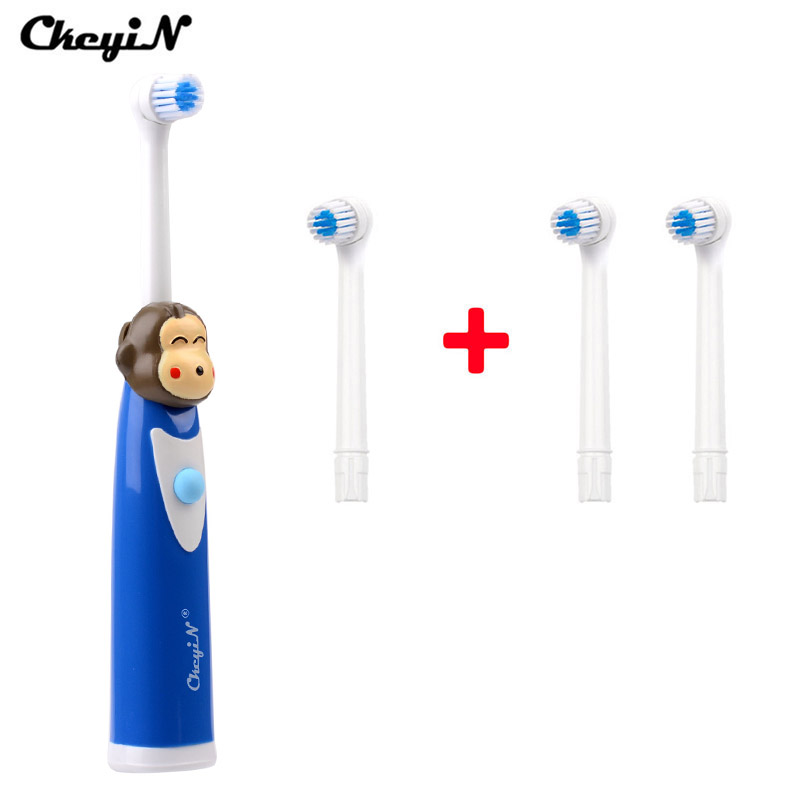 CkeyiN oral b electric toothbrush kids Cartoon Massage Brush Oral Care electric toothbrush replacement heads with 3Pcs Head 42 image