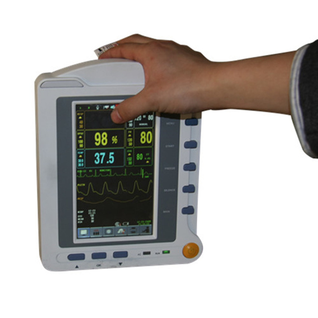 Contec CMS6500 6-Parameters ICU Patient Monitor,  ECG + NIPB + SPO2 + PR + RESP + TEMP, Touch Screen Medical Monitoring Device