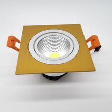 Factory Wholesale price Dimmable 10W Square COB Led down light Recessed Gold shell ceiling lamp