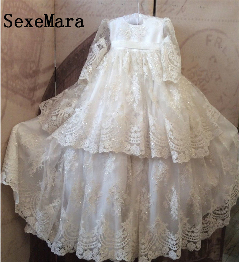 White Ivory Lace Long Christening Dress For Baby-Girls Baptism Day