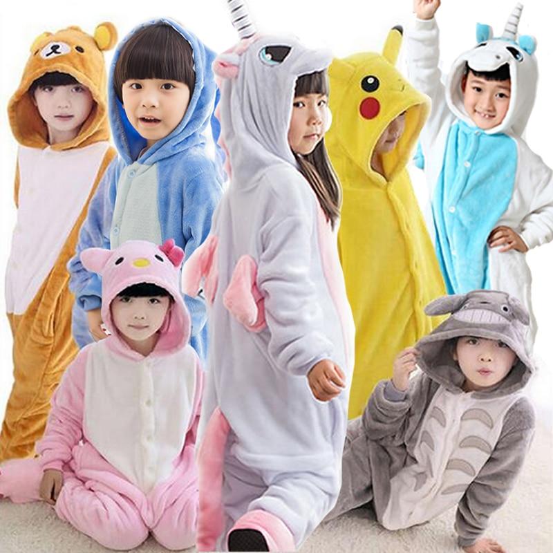 55490b77848 Boy Girl Pajamas Rainbow Panda Children Pajamas set Unisex Flannel Stitch  Kids pajama Cartoon Animal Cosplay Onesies kigurumi