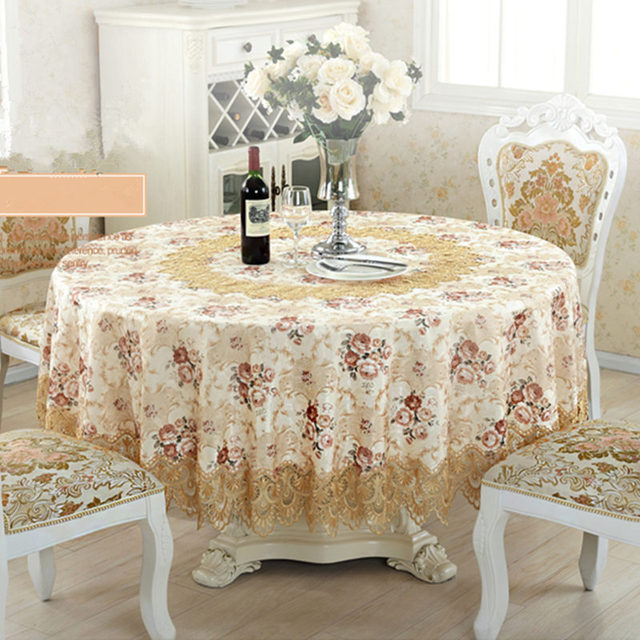 top elegant embroidery lace round tablecloth for wedding table