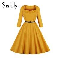 Винтажные платья Sisjuly Элегантные линии Свинг плиссированные для женщин вечерние Вечеринка Тощий девушка рокабилли Ретро Желтый шик платье