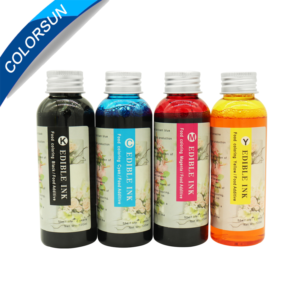 High quality 4 colors(CMYK) Edible Ink For Canon for Epson Desktop Inkjet Printer For Cake Chocolate coffee & food printerHigh quality 4 colors(CMYK) Edible Ink For Canon for Epson Desktop Inkjet Printer For Cake Chocolate coffee & food printer