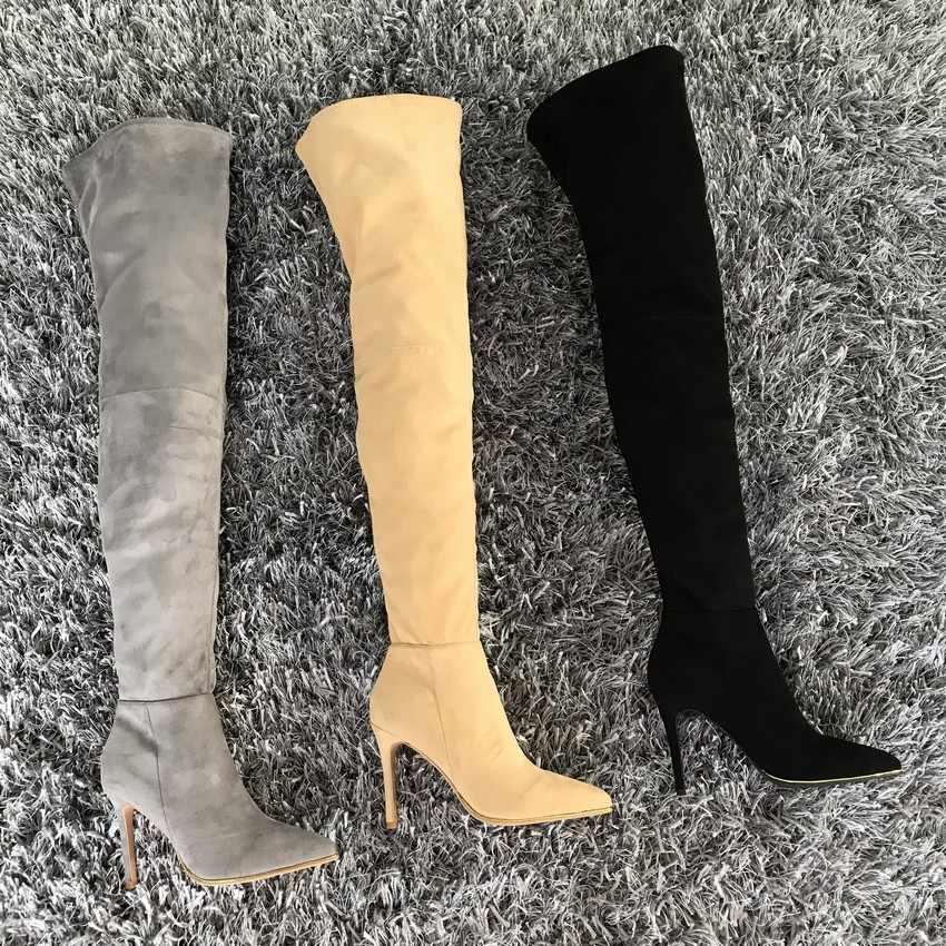 Giày nữ Trên Đầu Gối Giày Đùi hiệu Giày Cao 2019 Thu Đông Nữ Cao Cấp Thời Trang Giày Giày Người Phụ Nữ