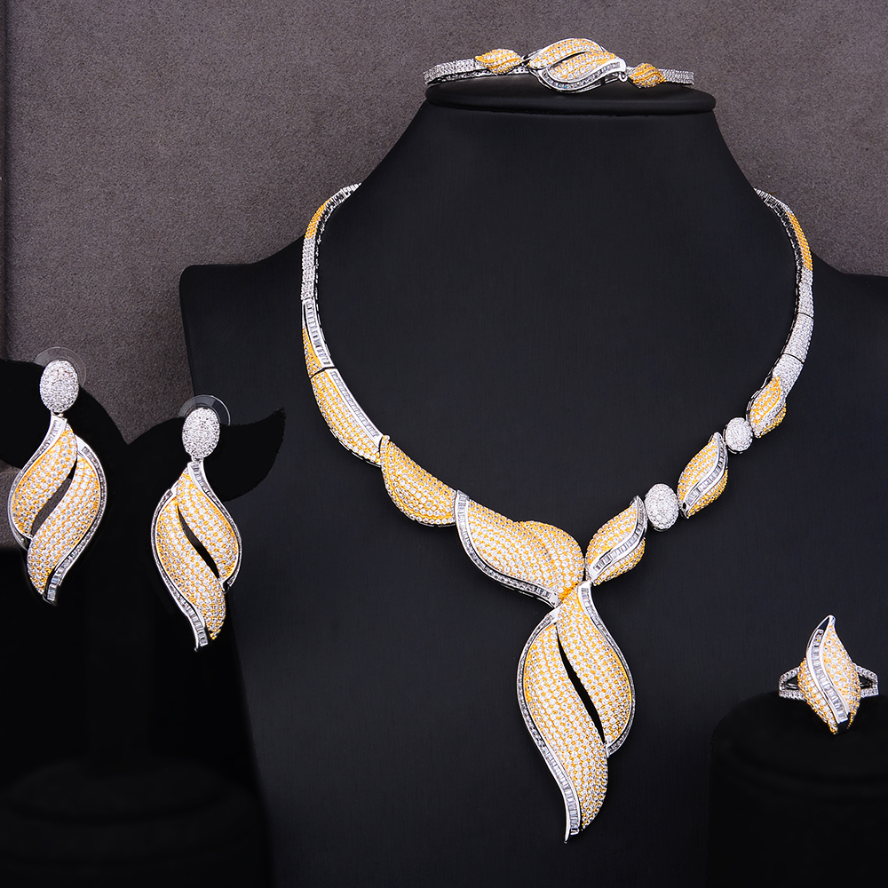 SisCathy 4PCS New Trendy Cubic Zirconia Necklace/Bracelet/Earrings/Ring Jewelry Sets For Women Dubai Wedding Bridal Jewelry Sets