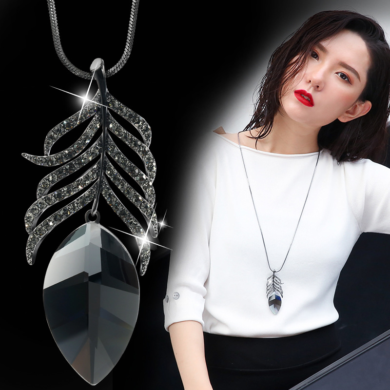 Detail Feedback Questions about DuoTang Brand Leaf Pendant Necklace Black  Gun Plated Long Chain Rhinestone Crystal Jewelry Necklaces For Women Gift  DM725 on ... 68f2dcd3face
