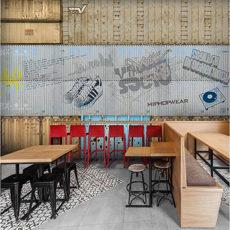 все цены на wallpaper 3d Container warehouse metal graffiti coffee shop bar restaurant background Mural Background Wallpaper