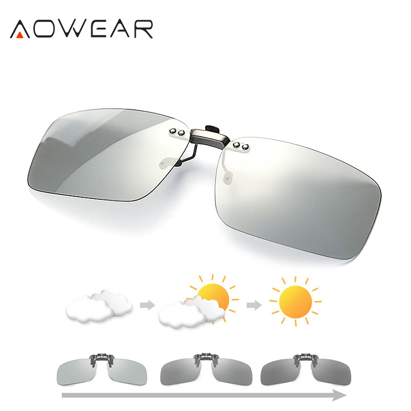 AOWEAR Polarized Clip Photochromic Sunglasses Men Chameleon Clip Glasses for Myopia Eyeglasses Day Night Driving Goggles Oculos