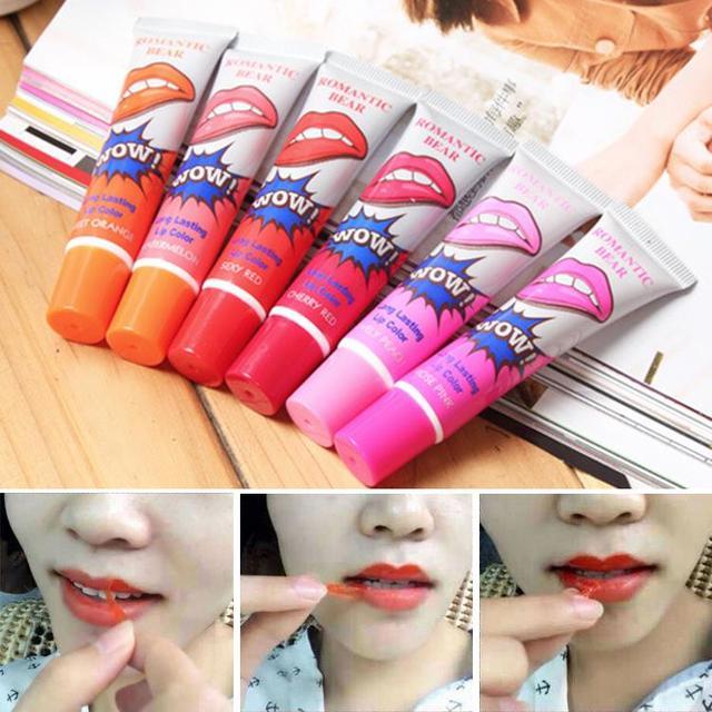 6 pçs/lote romântico urso companheiro hot lábio tatoo batom labial pintalabios maquiagem batom líquido de longa duração à prova d' água