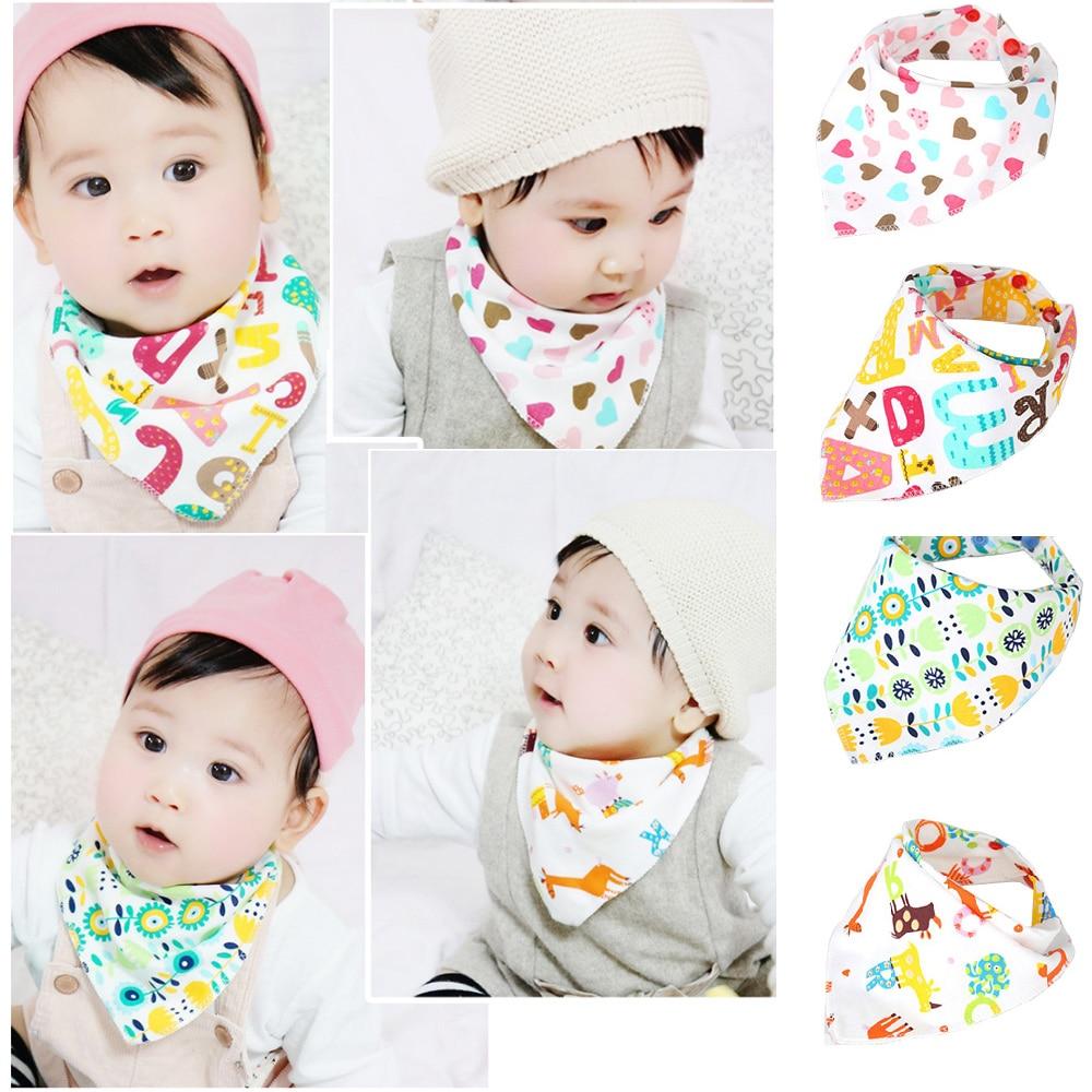 1 Pcs duplo camadas de algodão do bebê recém-nascido babadores triângulo lenço Cartton Animal bebê Bib Babero bebê Bandana babadores Burp panos