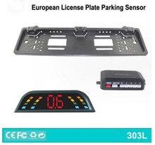 No drill European EU RU car license plate frame rearview alarm security Parking Sensor,auto reverse parking Assistance system