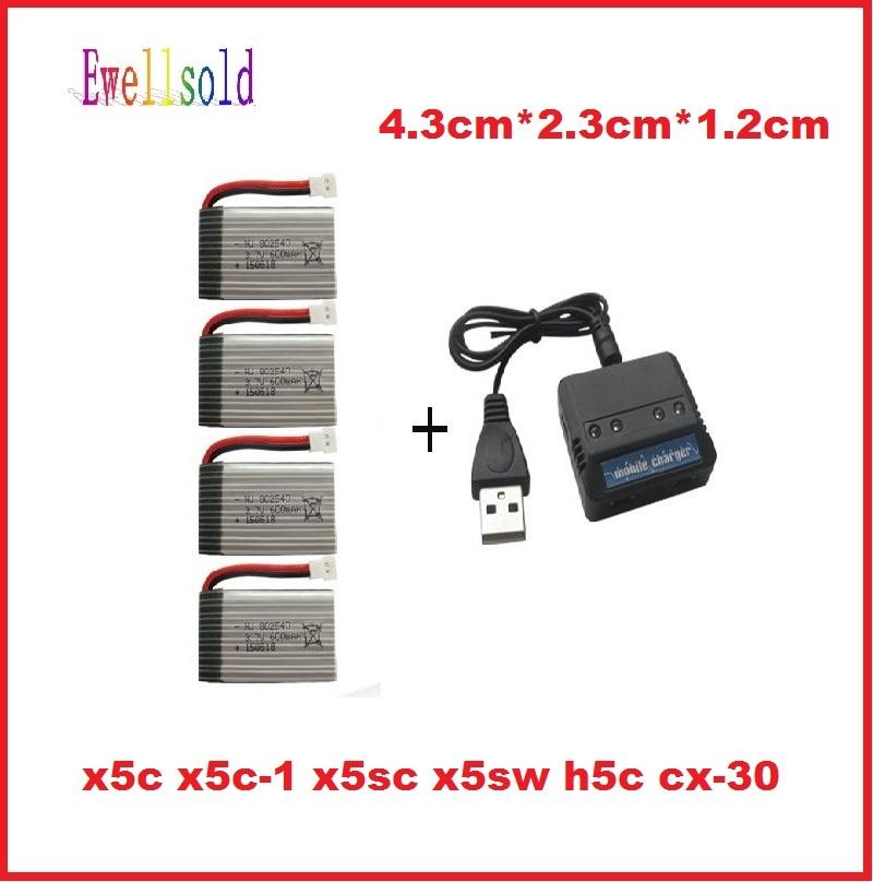 Ewellsold X5C X5C-1 X5SC X5SW H5C CX-30 RC беспилотный RC Quadcopter запчасти 3.7 В 600 мАч Li-Po аккумулятор * 4шт + 4 в 1 зарядное устройство