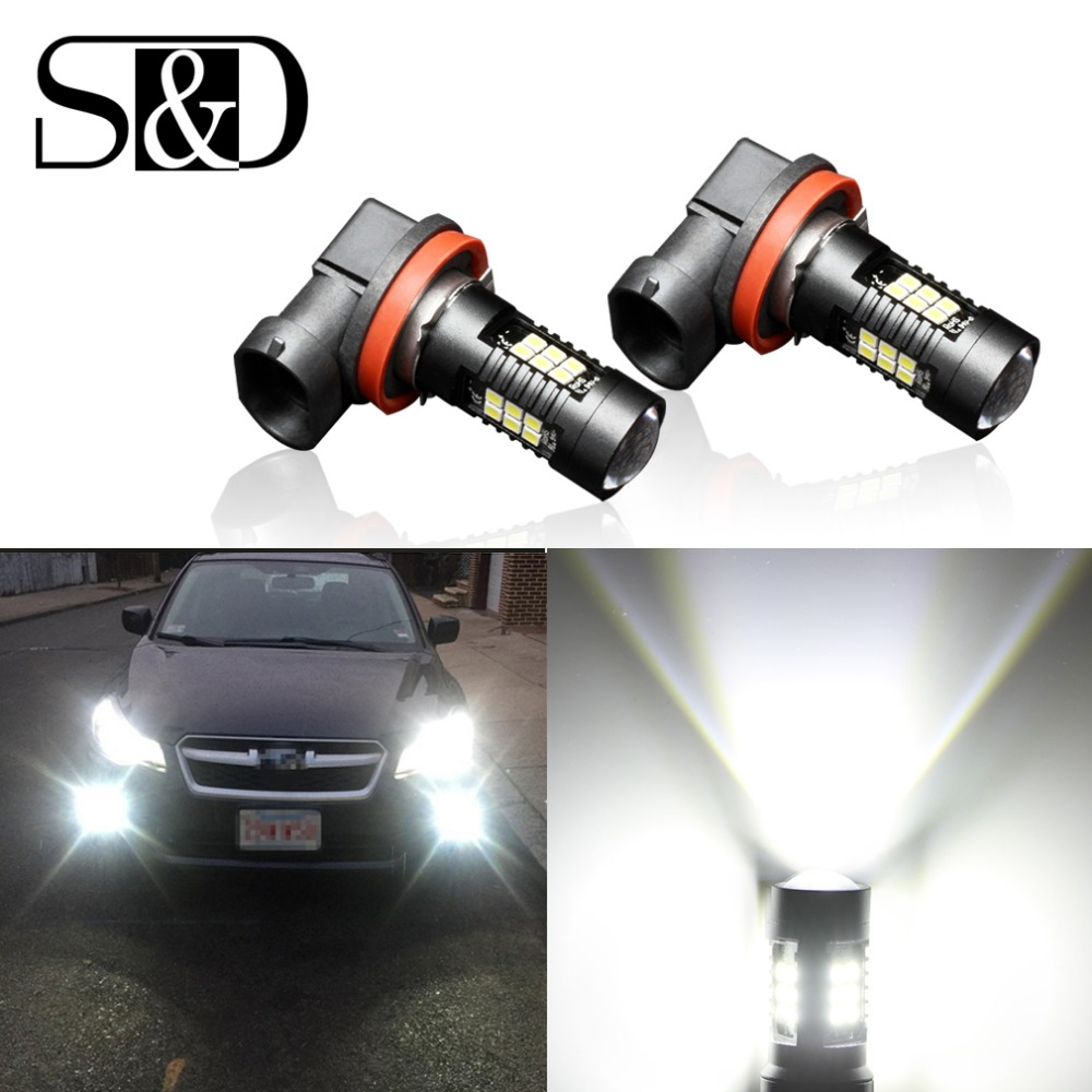 S&D 2Pcs H8 H11 Led Bulb HB4 Led HB3 9006 9005 Fog Lamp 1200LM 6000K 12V White DRL Daytime Running Car Lamp Auto Light Bulbs 3w 100lm 6000k white 3 led car daytime running light lamp black dc 12v pair