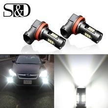 S&D 2Pcs H8 H11 Led Bulb HB4 Led HB3 9006 9005 Fog Lamp 1200LM 6000K 12V White DRL Daytime Running Car Lamp Auto Light Bulbs