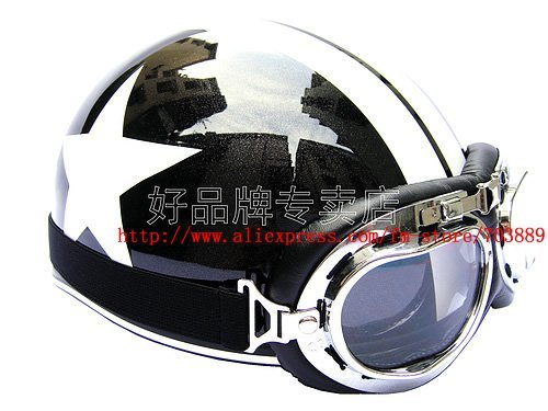 "TAIWAN "" EVO "" (03) Halley Scooter Half Vespa Motorcycle Open Face Black # White Helmet & Goggles + Visor"