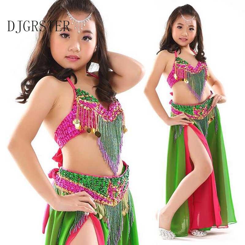 DJGRSTER scène Performance orientale danse du ventre vêtements 3 pièces Costume soutien-gorge, ceinture, jupe enfants danse du ventre Costume pour les filles