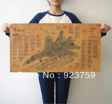 Large Vintage Style decorative painting Retro Paper Poster RUSSIA  SU-27 fighter aircraft structural drawings 28*15′(71* 38cm)