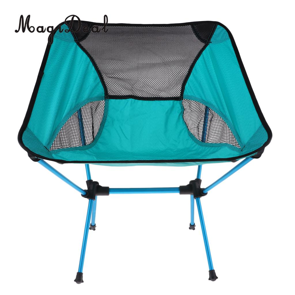 MagiDeal Ultralight Foldable Camping Chair Outdoor BBQ Fishing Seat Lounger Blue