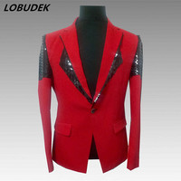 Sparkly Black Sequins Red Blazers Men Singer Host Stage Outfit Formal Prom Party Costume Fashion Slim Male Casual Coat Outerwear