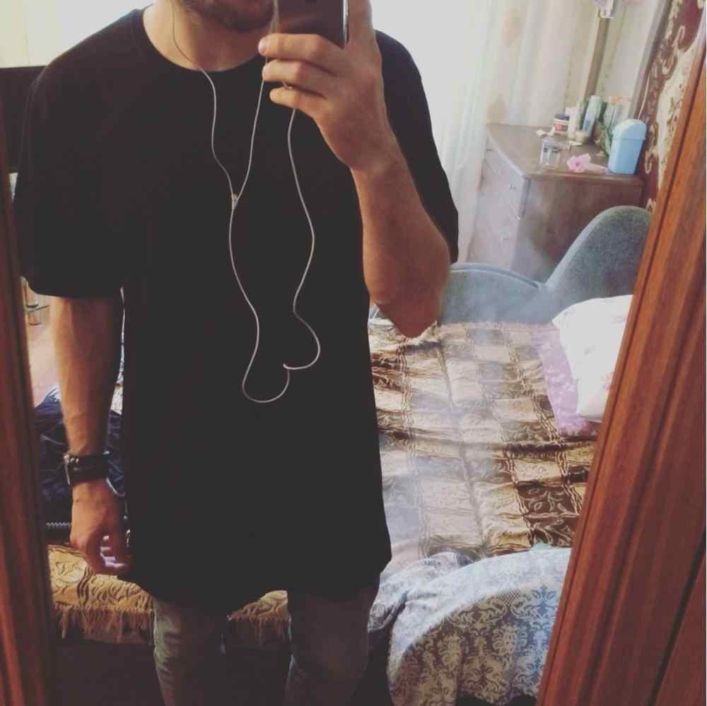 2019 новая брендовая одежда Мужская s Черная Мужская s длинная футболка топы хип хоп мужская футболка с коротким рукавом Повседневная мужская футболка для мужчин