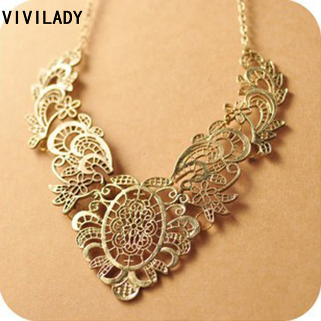 VIVILADY Vintage Zinc Alloy Collar Flower Leaf Necklace Women MN149 Classic Jewelry Choker