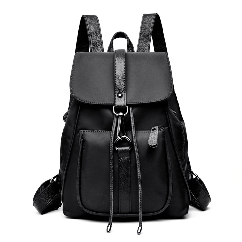 Women PU Leather+Nylon School Backpacks for Teenage Girls High Quality Shoulder Bags Large Capacity Travel Bag pack BookbagsWomen PU Leather+Nylon School Backpacks for Teenage Girls High Quality Shoulder Bags Large Capacity Travel Bag pack Bookbags