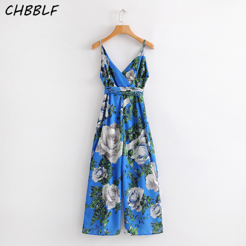 New summer 2018 V collar flower print Jumpsuit ladies casual holiday beach pants jumpsuit S1401