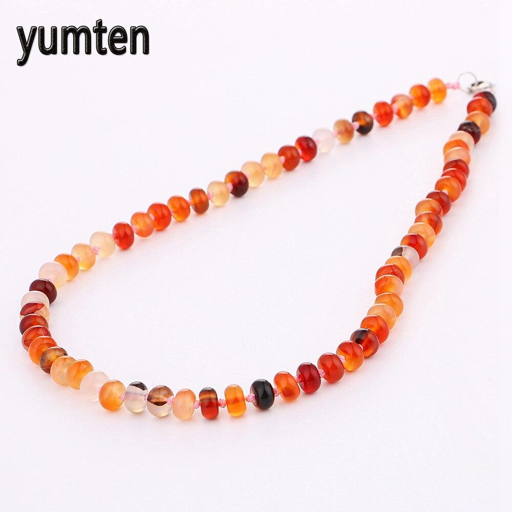 Yumten Agate Power Necklace Natural Stone Jewelry Women Gem Short Greys Anatomy Erkek Kolye Rainbow Overwatch Wholesale 5 PCS