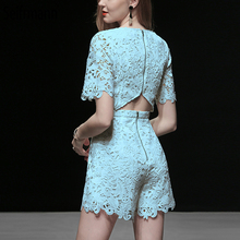 Seifrmann New 2019 Women Spring Summer Bodysuits Runway Fashion Designer Sexy V-Neck Lace Hollow Out Elegant Casual