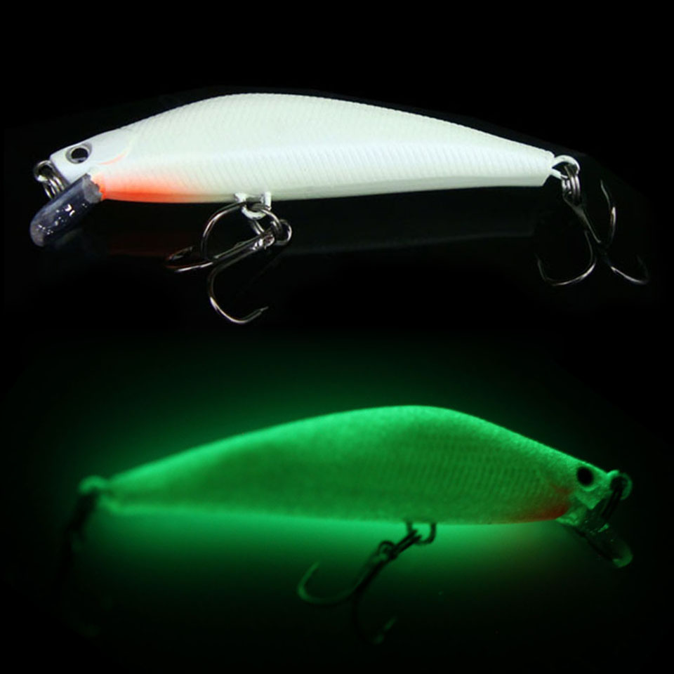 Walk Fish 1PCS 82mm 8g 3D Fishing Minnow Lure Luminous Night Isca Artificial Hard Fishing Bait Minnow Fishing Lures Tackle