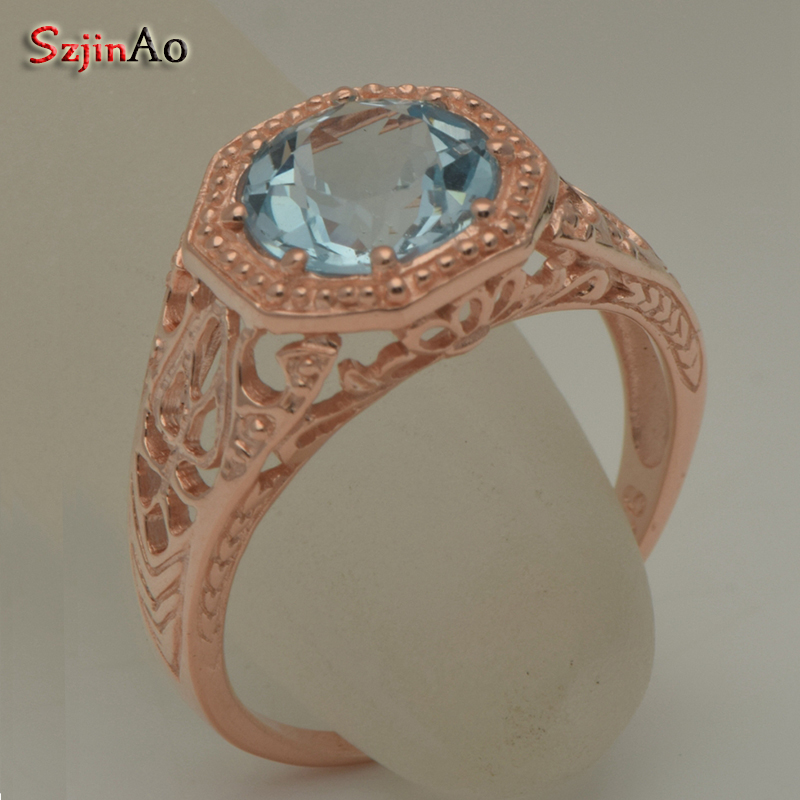 Szjinao traitement personnalisé aigue-marine véritable 14 k or jaune Rose Rold anneau pour les femmes désherbage bijoux de fiançailles