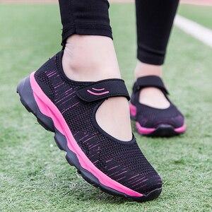 Image 3 - Женские кроссовки; Летняя повседневная обувь из сетчатого материала; Дышащие женские лоферы на плоской подошве; Удобная прогулочная обувь; Высокое качество; Zapatos