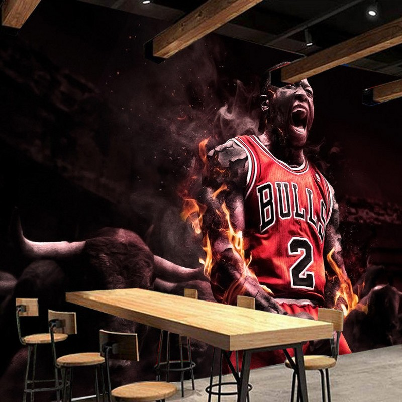 Free Shipping Creative basketball star tooling background wall painting high quality living room studio bedroom mural wallpaper  free shipping basketball function restaurant background wall waterproof high quality stereo bedroom living room mural wallpaper