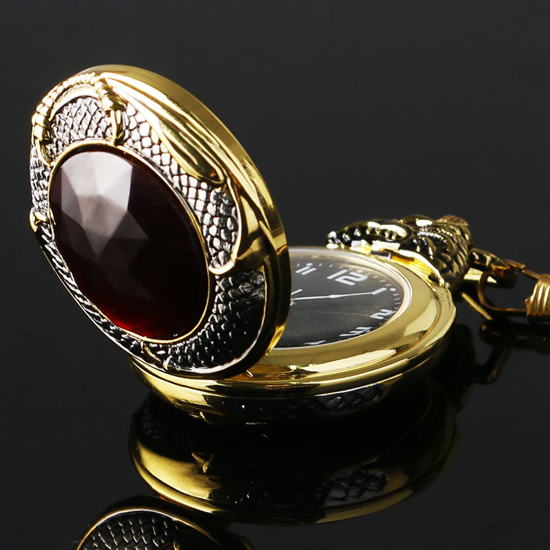 все цены на  Vintage Gold Pocket Watch Men Evil Dragon New Golden Tone Case Big Red Crystal Retro Red Garnet Inset  Luxury Necklace Gift  в интернете