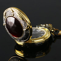 Reloj de bolsillo de oro Vintage para hombre, funda de dragón malvado, color dorado, roja grande de cristal rojo, granate Retro, Inset, collar de lujo, regalo