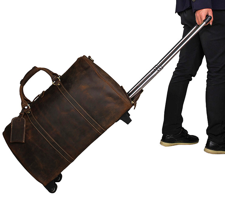 J.M.D Genuine Excellent Crazy Horse Leather Unisex Fashion Business Large Capacity Travel Duffle Laptop Bag 7077LR
