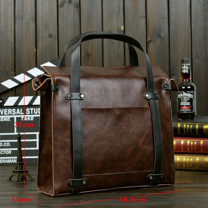 Hot selling Casual Business Men bag Crazy horse PU Leather bags men Messenger Bags crossbody Shoulder men's travel bag briefcase