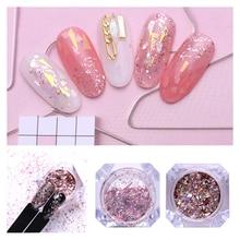 1 Box Nail Flakies Sequins Holographic Nail Glitter Powder P