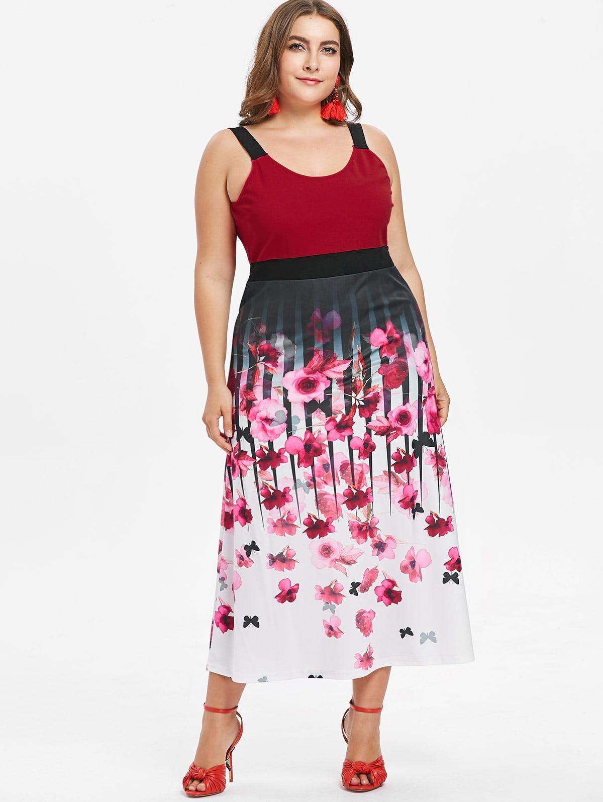 US $14.89 52% OFF|Wipalo Women Plus Size 5XL Sleeveless Butterfly Floral  Tea Length Dress Summer Scoop Neck Empire Waist Casual Dress Vestidos-in ...